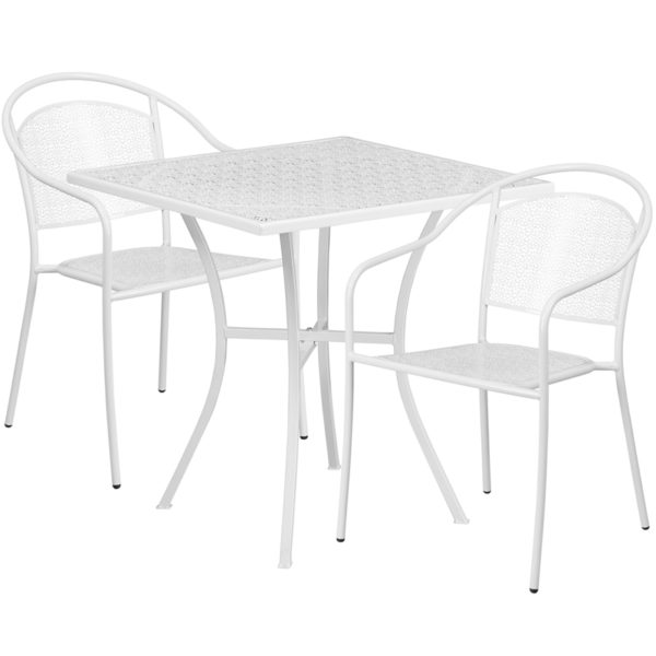 Wholesale 28'' Square White Indoor-Outdoor Steel Patio Table Set with 2 Round Back Chairs