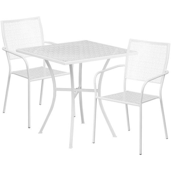 Wholesale 28'' Square White Indoor-Outdoor Steel Patio Table Set with 2 Square Back Chairs