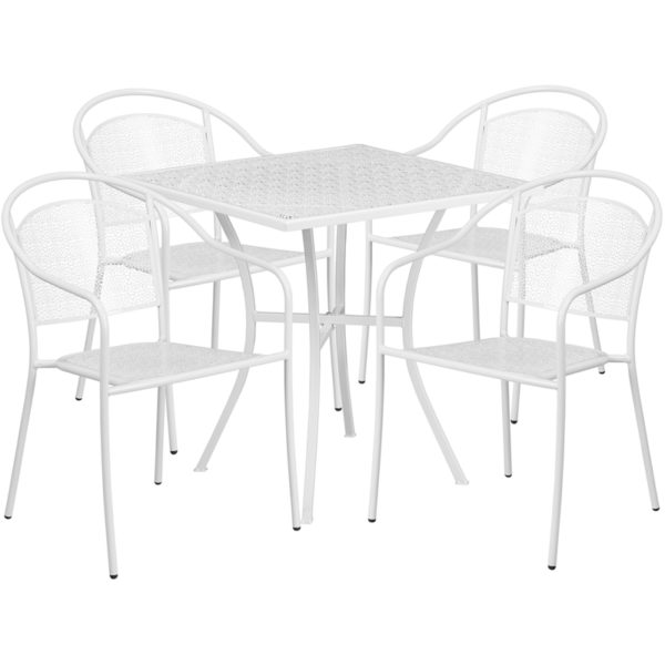 Wholesale 28'' Square White Indoor-Outdoor Steel Patio Table Set with 4 Round Back Chairs