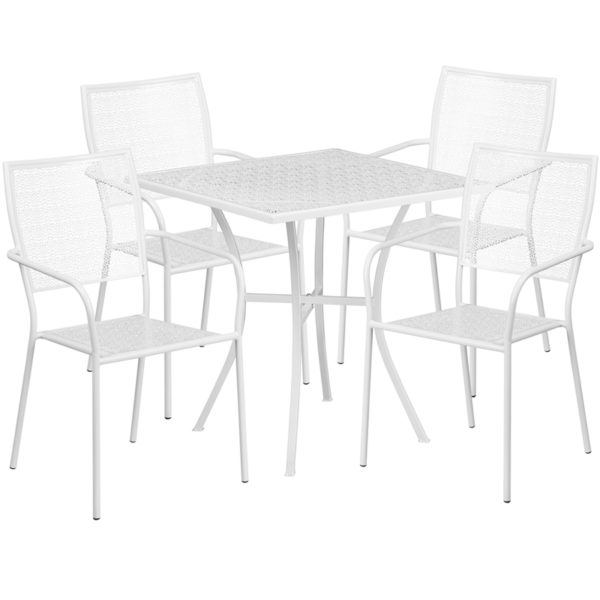 Wholesale 28'' Square White Indoor-Outdoor Steel Patio Table Set with 4 Square Back Chairs