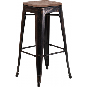 "Wholesale 30"" High Backless Black-Antique Gold Metal Barstool with Square Wood Seat"