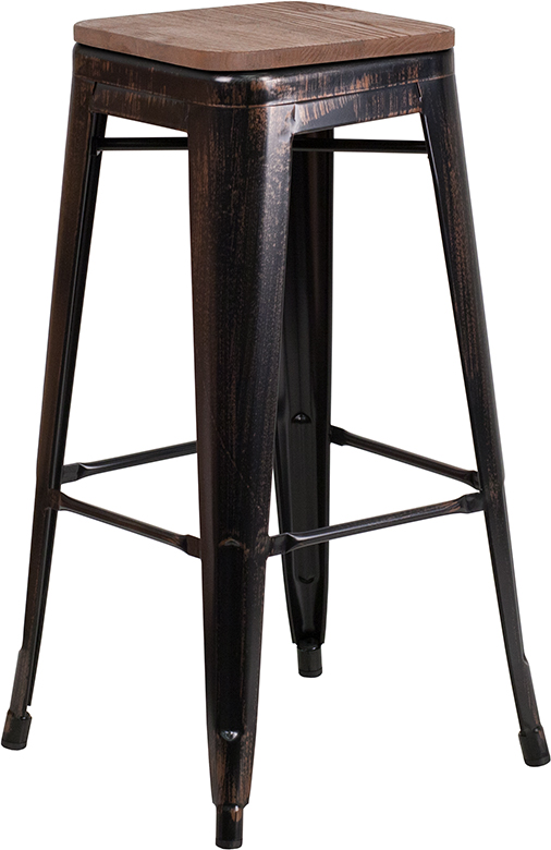"""Wholesale 30"""" High Backless Black-Antique Gold Metal Barstool with Square Wood Seat"""