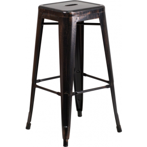 Wholesale 30'' High Backless Black-Antique Gold Metal Indoor-Outdoor Barstool with Square Seat