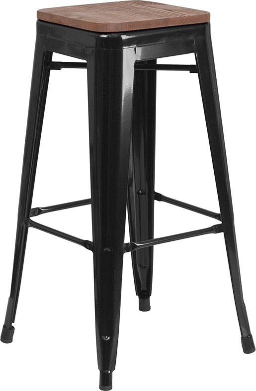 "Wholesale 30"" High Backless Black Metal Barstool with Square Wood Seat"