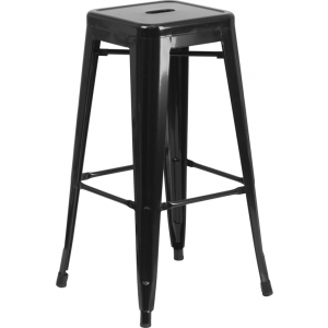 Wholesale 30'' High Backless Black Metal Indoor-Outdoor Barstool with Square Seat
