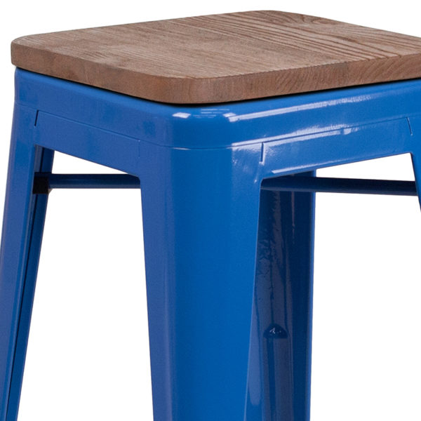 "Lowest Price 30"" High Backless Blue Metal Barstool with Square Wood Seat"