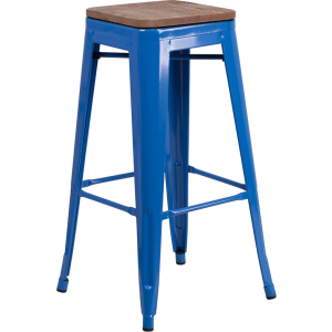 "Wholesale 30"" High Backless Blue Metal Barstool with Square Wood Seat"