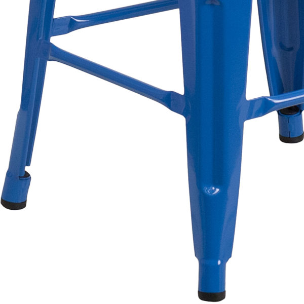 "Stackable Industrial Style Modern Stool 30"" Blue Metal Barstool"