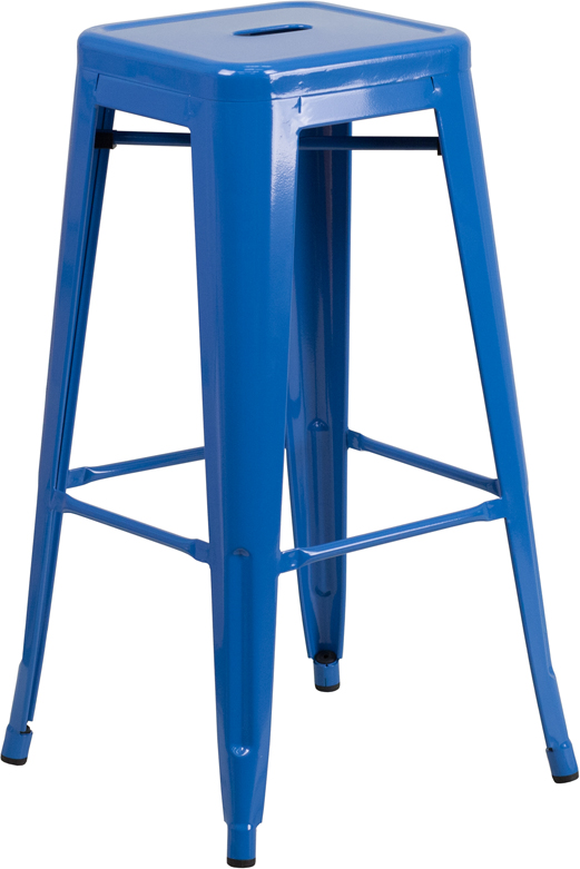 Wholesale 30'' High Backless Blue Metal Indoor-Outdoor Barstool with Square Seat