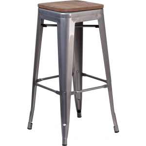 "Wholesale 30"" High Backless Clear Coated Metal Barstool with Square Wood Seat"