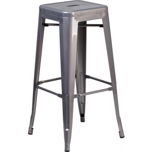 Wholesale 30'' High Backless Clear Coated Metal Indoor Barstool with Square Seat