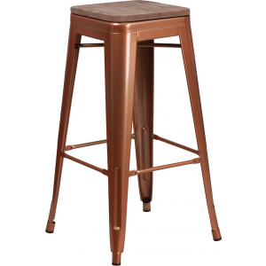 "Wholesale 30"" High Backless Copper Barstool with Square Wood Seat"