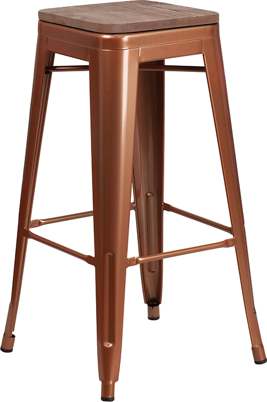 """Wholesale 30"""" High Backless Copper Barstool with Square Wood Seat"""