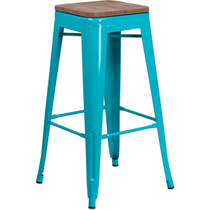 "Wholesale 30"" High Backless Crystal Teal-Blue Barstool with Square Wood Seat"