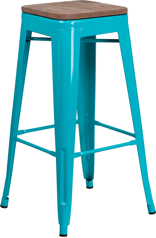 """Wholesale 30"""" High Backless Crystal Teal-Blue Barstool with Square Wood Seat"""