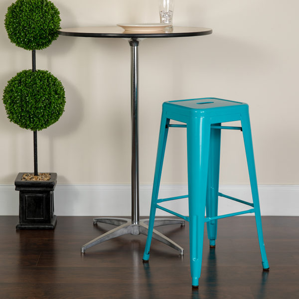 Lowest Price 30'' High Backless Crystal Teal-Blue Indoor-Outdoor Barstool