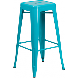 Wholesale 30'' High Backless Crystal Teal-Blue Indoor-Outdoor Barstool
