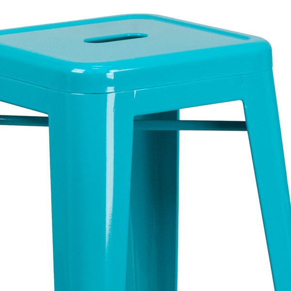 "Stackable Industrial Style Modern Stool 30"" Teal No Back Metal Stool"