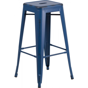 Wholesale 30'' High Backless Distressed Antique Blue Metal Indoor-Outdoor Barstool