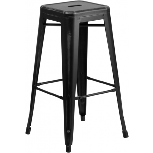 Wholesale 30'' High Backless Distressed Black Metal Indoor-Outdoor Barstool
