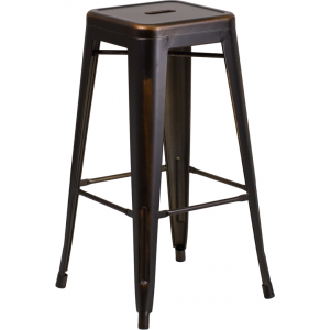 Wholesale 30'' High Backless Distressed Copper Metal Indoor-Outdoor Barstool