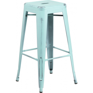 Wholesale 30'' High Backless Distressed Green-Blue Metal Indoor-Outdoor Barstool