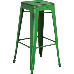 Wholesale 30'' High Backless Distressed Green Metal Indoor-Outdoor Barstool