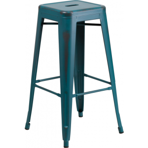 Wholesale 30'' High Backless Distressed Kelly Blue-Teal Metal Indoor-Outdoor Barstool