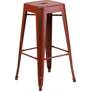 Wholesale 30'' High Backless Distressed Kelly Red Metal Indoor-Outdoor Barstool