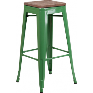 "Wholesale 30"" High Backless Green Metal Barstool with Square Wood Seat"