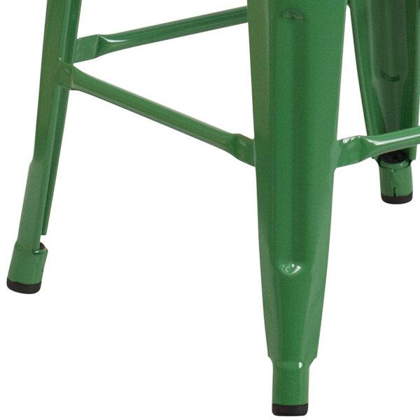 "Stackable Industrial Style Modern Stool 30"" Green Metal Barstool"