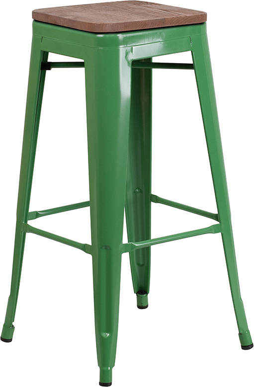 """Wholesale 30"""" High Backless Green Metal Barstool with Square Wood Seat"""