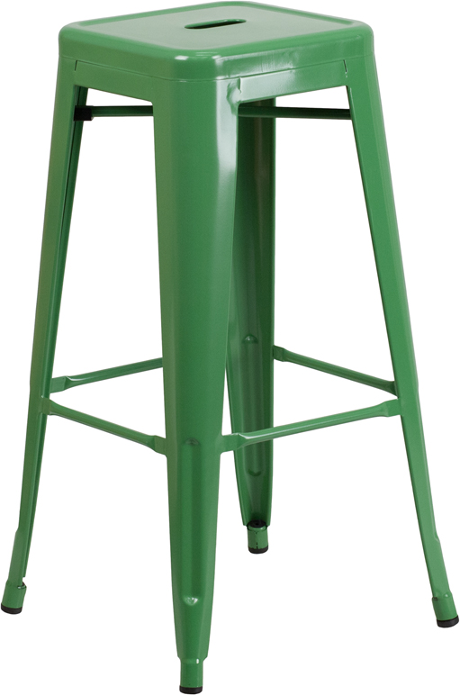 Wholesale 30'' High Backless Green Metal Indoor-Outdoor Barstool with Square Seat