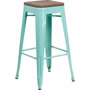 "Wholesale 30"" High Backless Mint Green Barstool with Square Wood Seat"