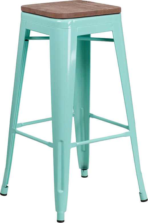 """Wholesale 30"""" High Backless Mint Green Barstool with Square Wood Seat"""