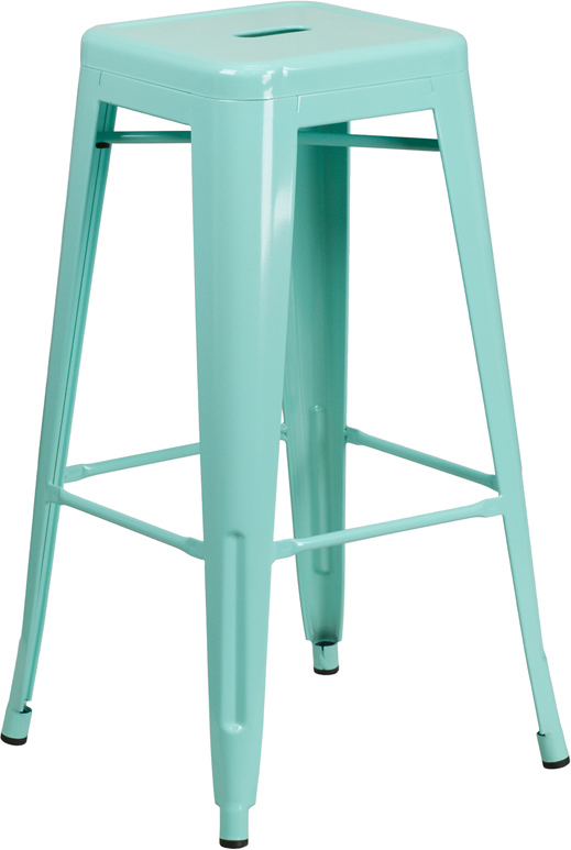 Wholesale 30'' High Backless Mint Green Indoor-Outdoor Barstool