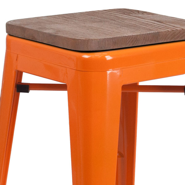 """Lowest Price 30"""" High Backless Orange Metal Barstool with Square Wood Seat"""