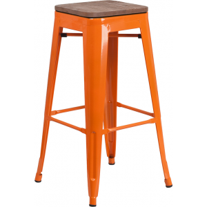 "Wholesale 30"" High Backless Orange Metal Barstool with Square Wood Seat"