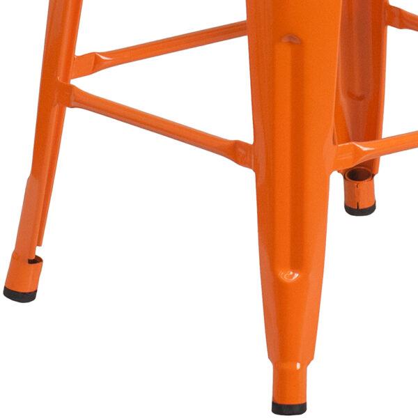 """Stackable Industrial Style Modern Stool 30"""" Orange Metal Barstool"""