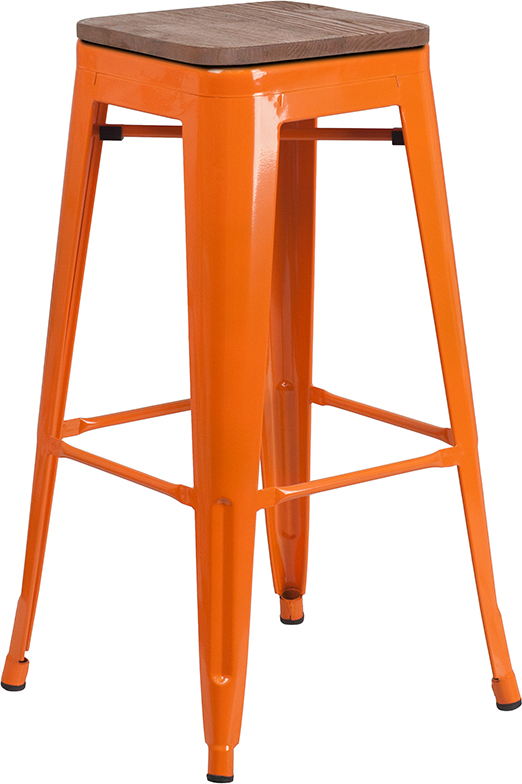 """Wholesale 30"""" High Backless Orange Metal Barstool with Square Wood Seat"""