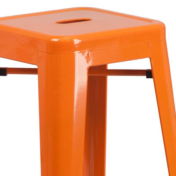 "Stackable Industrial Style Modern Stool 30"" Orange No Back Metal Stool"