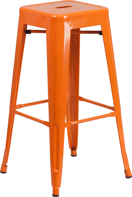 Wholesale 30'' High Backless Orange Metal Indoor-Outdoor Barstool with Square Seat