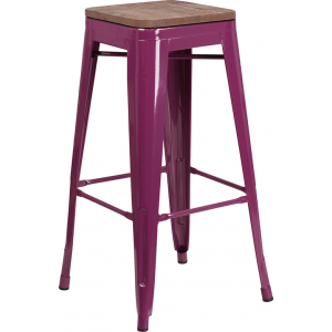 "Wholesale 30"" High Backless Purple Barstool with Square Wood Seat"