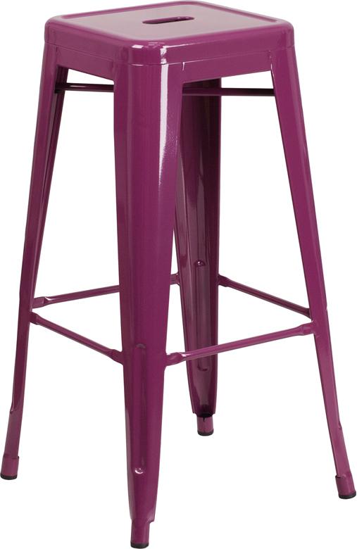 Wholesale 30'' High Backless Purple Indoor-Outdoor Barstool
