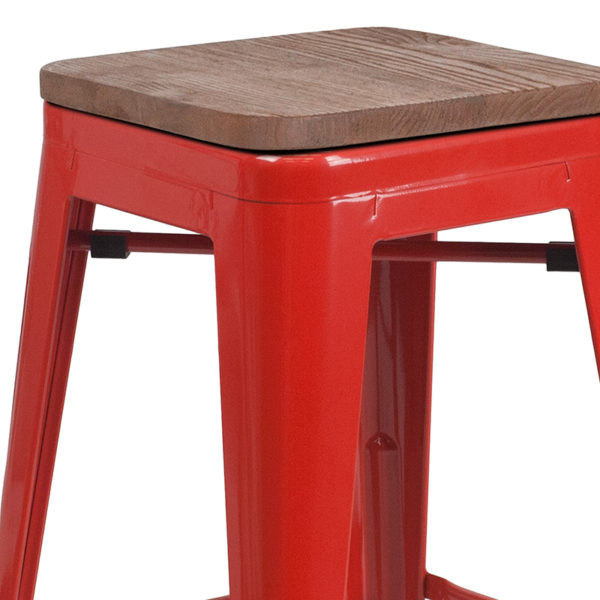 """Lowest Price 30"""" High Backless Red Metal Barstool with Square Wood Seat"""