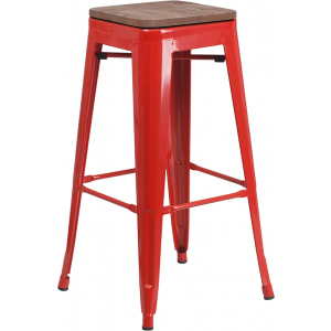 "Wholesale 30"" High Backless Red Metal Barstool with Square Wood Seat"