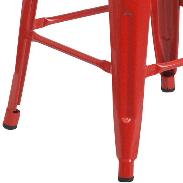 """Stackable Industrial Style Modern Stool 30"""" Red Metal Barstool"""