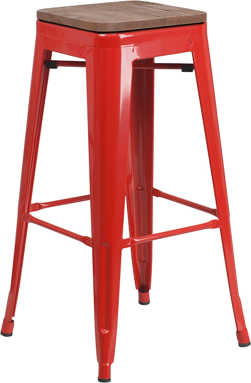 """Wholesale 30"""" High Backless Red Metal Barstool with Square Wood Seat"""
