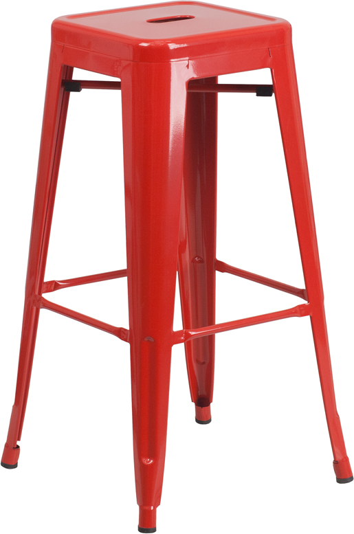 Wholesale 30'' High Backless Red Metal Indoor-Outdoor Barstool with Square Seat