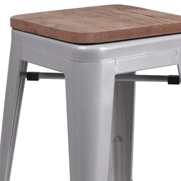 """Lowest Price 30"""" High Backless Silver Metal Barstool with Square Wood Seat"""